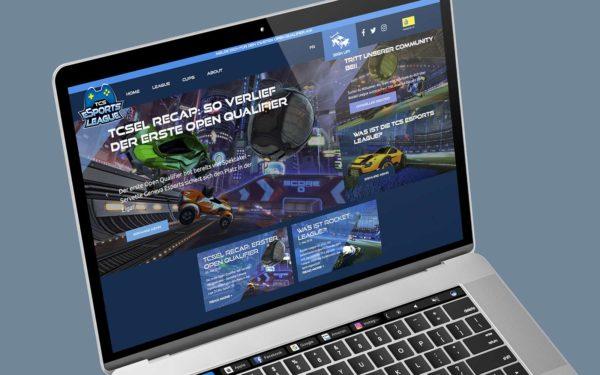 Website von TCS eSports League mit dem Logo- und Webdesign