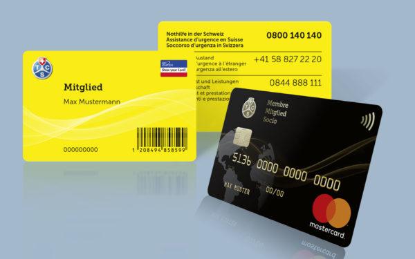 Kartendesign für die Mitglieder- und Kreditkarten des TCS
