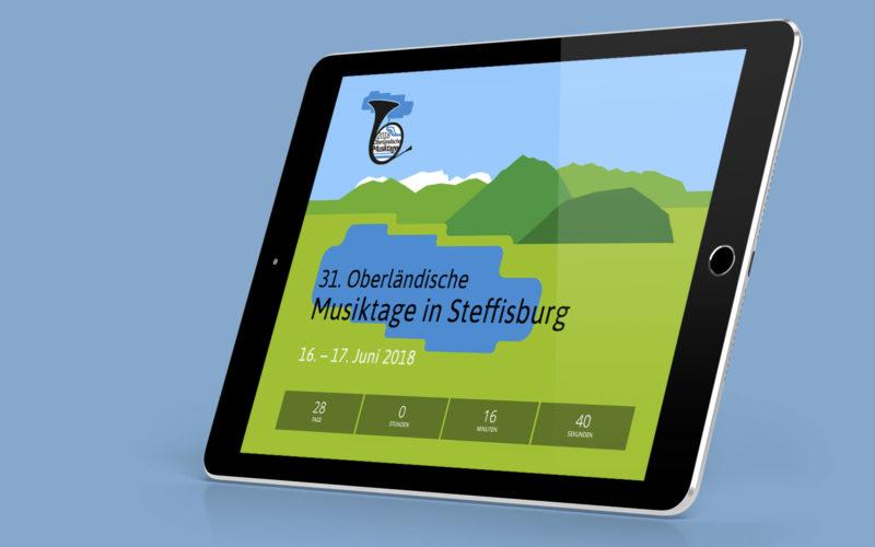 Webdesign der Musiktage dargestellt in einem Tablet