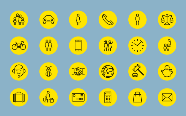 Beispiele von Icondesigns des TCS.
