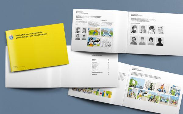Beispielseiten des Manuals Illustrationen mit Designvorgaben für den Illustrationsstil